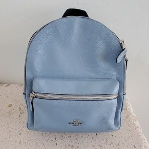 Authentic Soft Blue Coach Medium Charlie BackPack